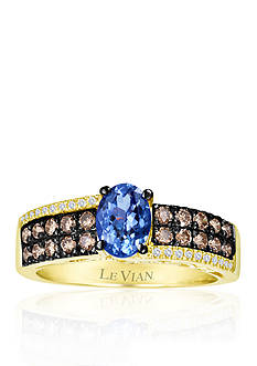 Le Vian® 14k Honey Gold™ Blueberry Tanzanite™, Chocolate Diamond®, and Vanilla Diamond® Ring