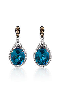 Le Vian Deep Sea Blue Topaz™, Chocolate Diamond®, and Vanilla Diamond® Earrings in 14k Vanilla Gold®