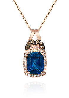 Le Vian Deep Sea Blue Topaz™, Chocolate Diamond® Accent, and Vanilla Diamond® Accent Pendant in 14k Strawberry G