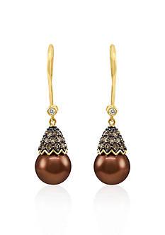 Le Vian 14k Honey Gold ™ Tahitian Chocolate Pearl®, Chocolate Diamond® and Vanilla Diamond™ Earrings