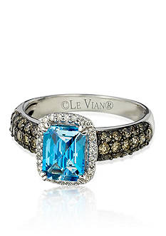 Le Vian Ocean Blue Topaz™, Chocolate Diamond®, and Vanilla Diamond® Ring in 14k Vanilla Gold®