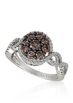 Le Vian Vanilla Diamond and Chocolate Diamond Cluster Ring in 14k Vanilla Gold