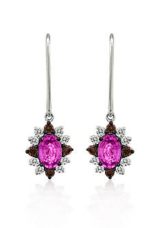 Le Vian 14k Vanilla Gold® Pink Sapphire, Chocolate Diamond® and Vanilla Diamond® Earrings