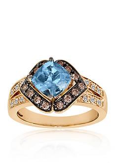Le Vian Sea Blue Aquamarine, Chocolate Diamonds, and Vanilla Diamonds Ring in 14k Strawberry Gold