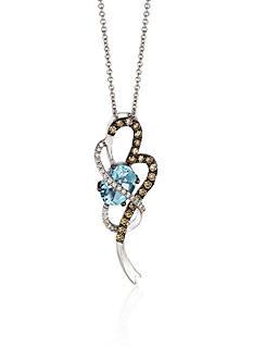 Le Vian 14k Vanilla Gold® Sea Blue Aquamarine® Chocolate Diamond® and Vanilla Diamond® Swirl Pendant