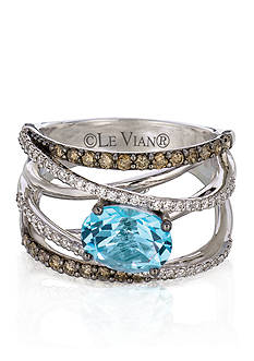 Le Vian 14k Vanilla Gold® Sea Blue Topaz™, Chocolate Diamond®, and Vanilla Diamond® Ring