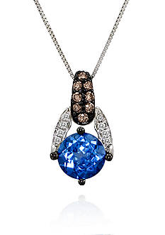 Le Vian Ocean Blue Topaz, Vanilla Diamonds, and Chocolate Diamonds Pendant Necklace in 14k Vanilla Gold
