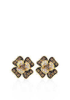 Le Vian Chocolate Diamond® and Vanilla Diamond™ Flower Earrings in 14k Honey Gold™