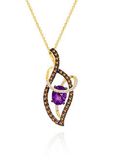 Le Vian Candy Colors Amethyst®, Chocolate Diamond®, and Vanilla Diamond® Pendant in 14k Honey Gold™