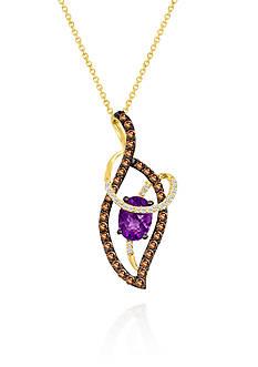 Le Vian Candy Colors Amethyst®, Chocolate Diamond®, and Vanilla Diamond® Pendant in 14k Honey Gold™