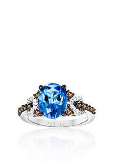 Le Vian® 14k Vanilla Gold® Ocean Blue Topaz™, Chocolate Diamond®, and Vanilla Diamond® Ring