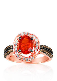 Le Vian 14k Strawberry Gold® Neon Tangerine Fire Opal®, Chocolate Diamond®, and Vanilla Diamond® Ring