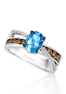 Le Vian Ocean Blue Topaz, Vanilla Diamonds, and Chocolate Diamonds Ring in 14k Vanilla Gold