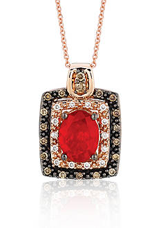 Le Vian Neon Tangerine Fire Opal®, Chocolate Diamond®, and Vanilla Diamond® Pendant in 14k Strawberry Gold®