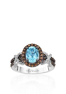 Le Vian 14k Vanilla Gold® Sea Blue Aquamarine®, Chocolate Diamond® and Vanilla Diamond® Ring