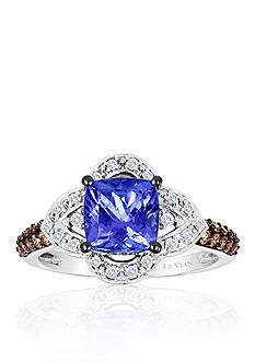 Le Vian® 14k Vanilla Gold® Blueberry Tanzanite™, Chocolate Diamond®, and Vanilla Diamond® Ring