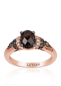 Le Vian® 14k Strawberry Gold® Chocolate Quartz®, Chocolate Diamond®, and Vanilla Diamond® Ring