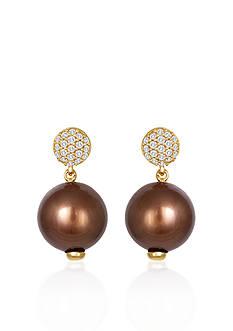 Le Vian 14k Honey Gold™ Tahitian Chocolate Pearl® and Vanilla Diamond™ Earrings