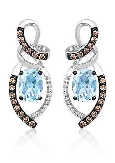 Le Vian Sea Blue Aquamarine, Vanilla Diamonds, and Chocolate Diamonds Chocolatier Drop Earrings in 14k Vanilla Gold