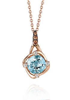 Le Vian Sea Blue Aquamarine, Vanilla Diamonds, and Chocolate Diamonds Pendant Necklace in 14k Strawberry Gold