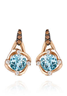 Le Vian Sea Blue Aquamarine, Vanilla Diamonds, and Chocolate Diamonds Drop Earrings in 14k Strawberry Gold
