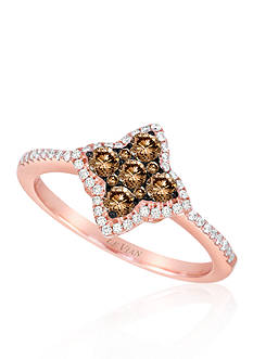 Le Vian Chocolate Diamond® and Vanilla Diamond® Cluster Ring in 14k Strawberry Gold®