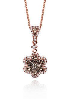 Le Vian Chocolate Diamond® and Vanilla Diamond™ Flower Pendant in 14k Strawberry Gold®