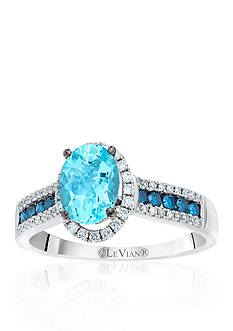 Le Vian® 14k Vanilla Gold® Sea Blue Aquamarine®, Vanilla Diamond®, and Blueberry Diamond® Ring
