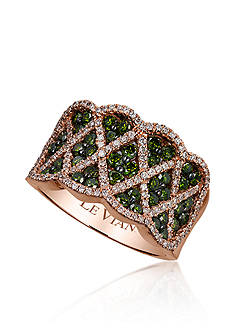 Le Vian Kiwiberry Green Diamond™ and Vanilla Diamond® Ring in 14k Strawberry Gold®