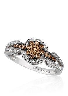 Le Vian Vanilla Diamonds and Chocolate Diamonds Cluster Ring in 14k Vanilla Gold