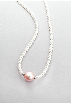 Belk & Co. Sterling Silver Pearl Necklace with Pink Pearl Center