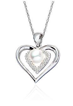 Belk & Co. Sterling Silver Freshwater Pearl Heart Pendant with Diamond Accents