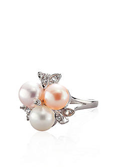 Belk & Co. Sterling Silver Freshwater Pearl and Diamond Cluster Ring