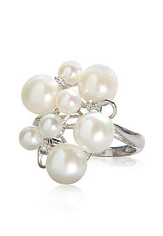 Belk & Co. Sterling Silver Freshwater Pearl and Diamond Ring