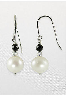 Belk & Co. Sterling Silver Freshwater Pearl and Onyx Dangle Earrings