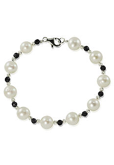 Belk & Co. Sterling Silver Freshwater Pearl and Onyx Bracelet