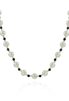 Belk & Co. Sterling Silver Freshwater Pearl & Onyx Necklace