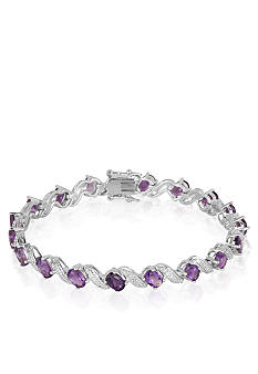 Belk & Co. Sterling Silver Amethyst and Diamond Bracelet
