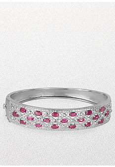 Belk & Co. Sterling Silver Ruby and Diamond 'X' Bangle Bracelet
