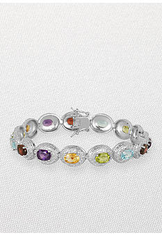 Belk & Co. Sterling Silver Multi Gemstone and Diamond Bracelet