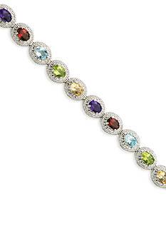 Belk & Co. Sterling Silver Multi Color Gemstone and Diamond Bracelet
