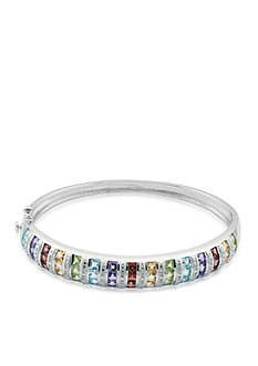 Belk & Co. Sterling Silver Multi Color Gemstone and Diamond Bangle
