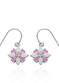 Belk & Co. Created Opal and Pink Topaz Flower Earrings in Sterling Silver