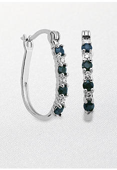 Belk & Co. Sterling Silver Sapphire and Diamond Hoop Earrings