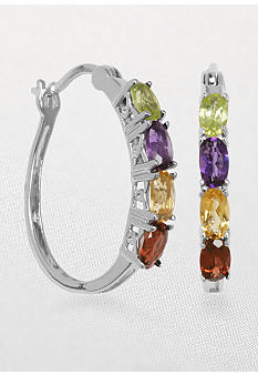 Belk & Co. Sterling Silver Multi-Color Hoop Earring