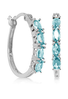 Belk & Co. Sterling Silver Blue Topaz Oval Hoop Earrings