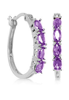 Belk & Co. Sterling Silver Amethyst Oval Hoop Earrings