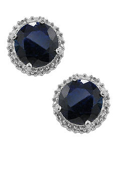 Belk & Co. Sterling Silver Sapphire And Diamond Earrings