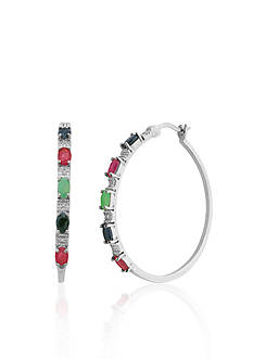 Belk & Co. Sterling Silver Multi Gemstone and Diamond Hoop Earrings