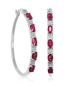 Belk & Co. Sterling Silver Oval Ruby and Diamond Earrings